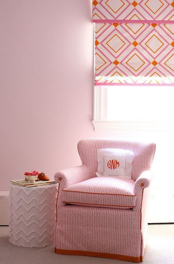 Best Girl S Bedroom With Orange Pink Roman Shade Simplified Bee With Pictures