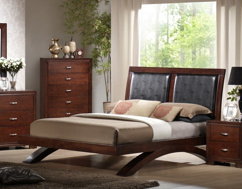 Best Raven Bedroom Set Faux Leather Dark Cherry Finish With Pictures