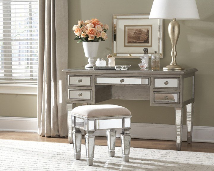 Best Contemporary Bedroom Style With Mirrored Vanity Desk Table With Pictures