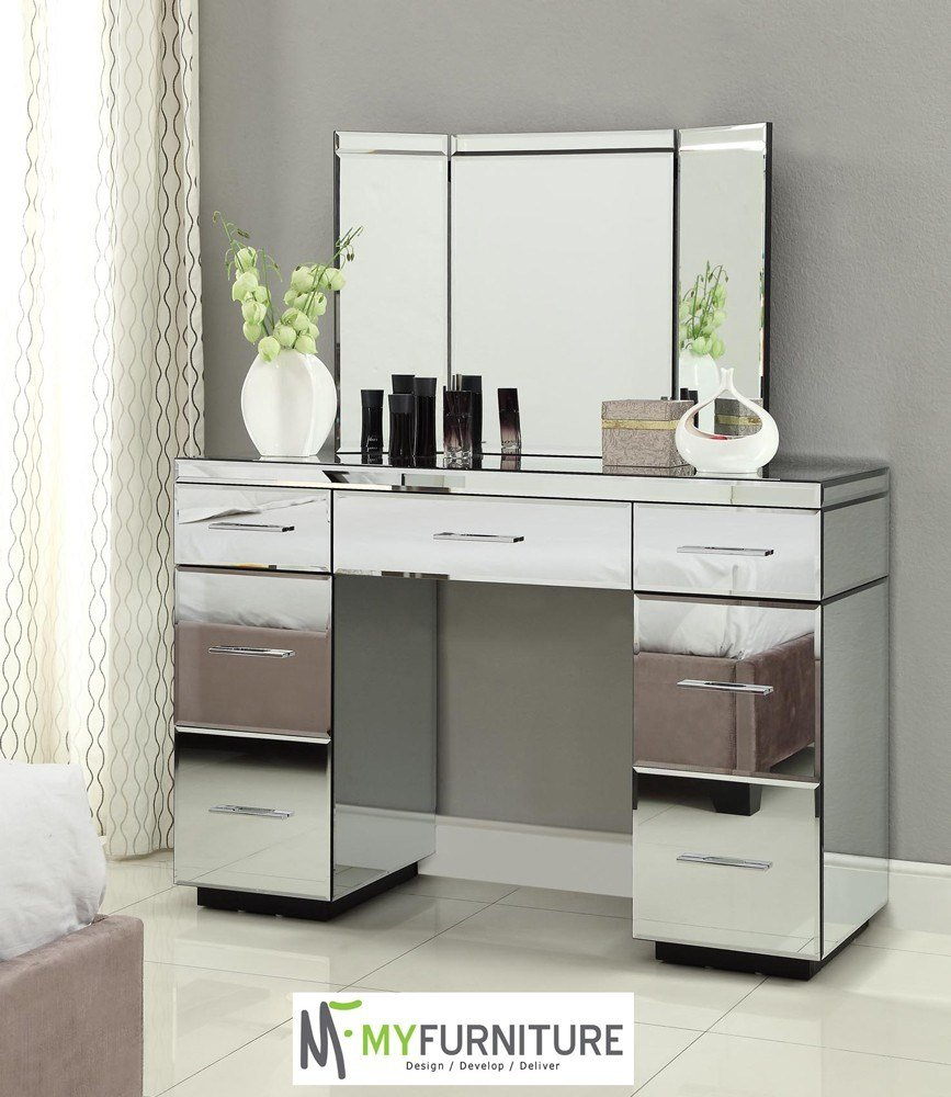 Best Minimalist Bedroom Style With Mirrored Vanity Desk Table With Pictures