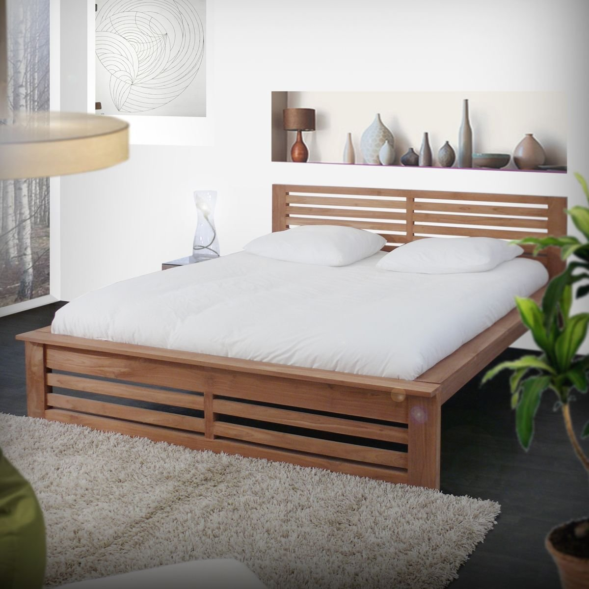 Best Tikamoon Solid Teak Wood Double Bed 160X200 Modern Design With Pictures