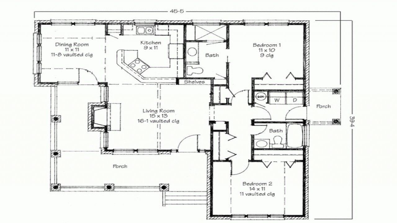 Best 2 Bedroom House Simple Plan Two Bedroom House Simple Floor Plans Simple Home Blueprints With Pictures