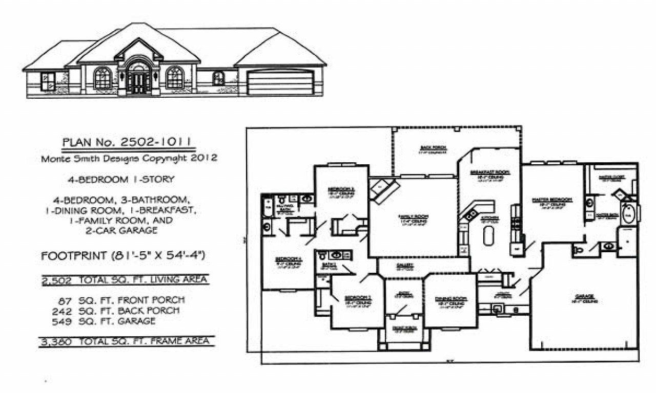 Best 4 Bedroom Single Family 4 Bedroom One Story House Plans 1 Story House Floor Plans Treesranch Com With Pictures
