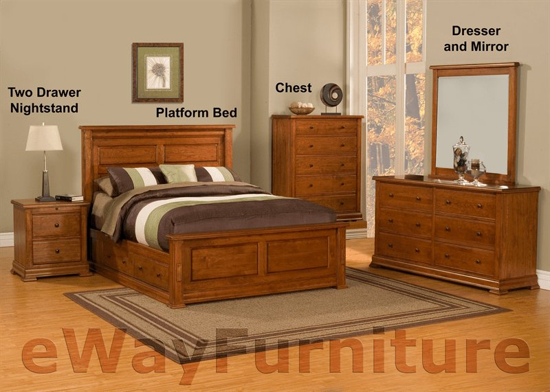 Best Traditional Solid Cherry Platform Storage Bedroom Set With Pictures