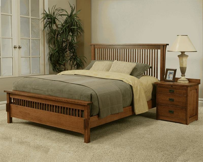 Best Solid Oak Mission Spindle Low Profile Bedroom Set With Pictures