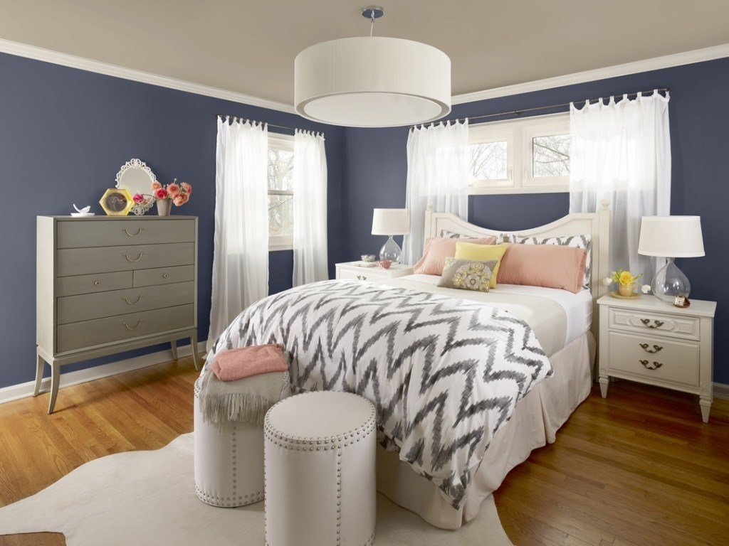 Best Grey And Blue Wall Black Bed Paint Ideas For Bedroom With Pictures