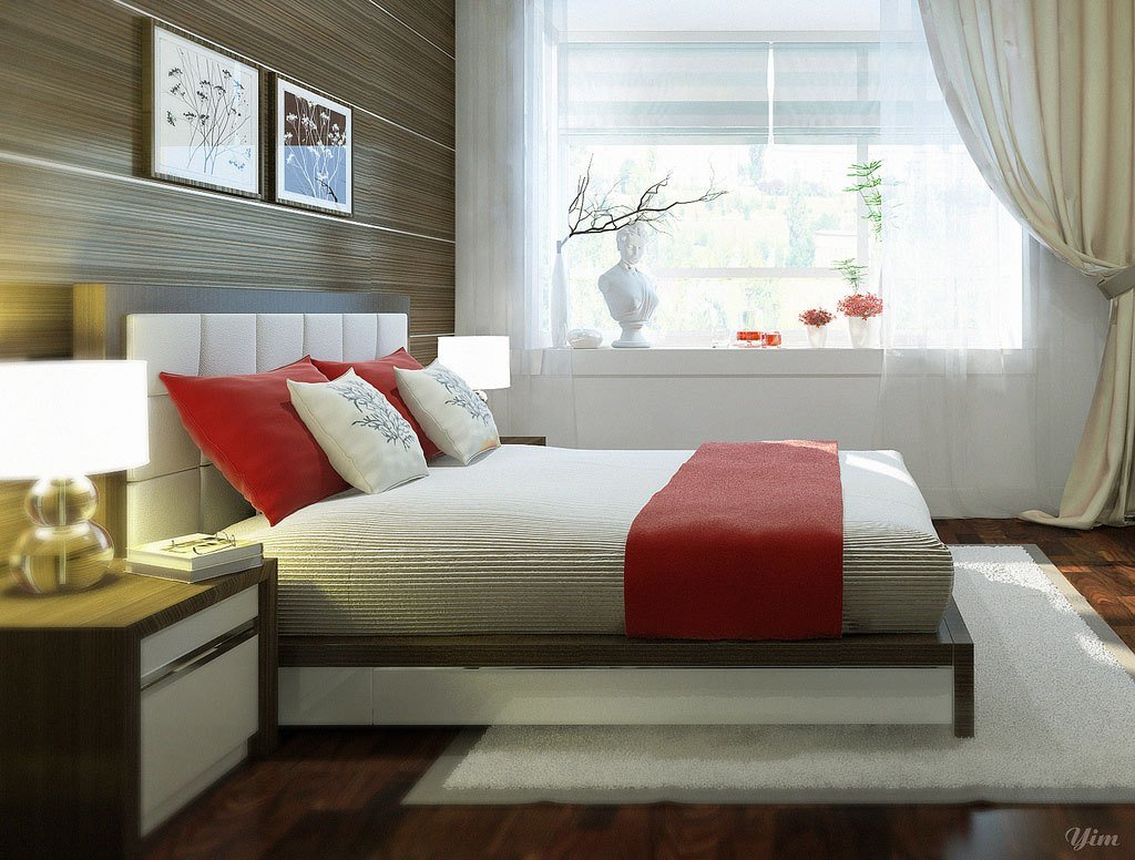 Best White And Red Bedroom With Wall Feature Ideas Interior With Pictures