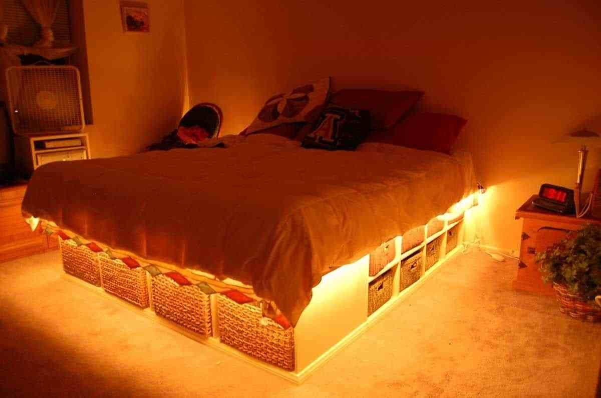Best Bedroom With Under Bed Storage And Rope Lighting Popular With Pictures
