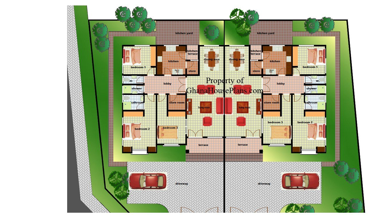 Best Two Bedroom Semi Detached House Plan Plans Duplex With Pictures