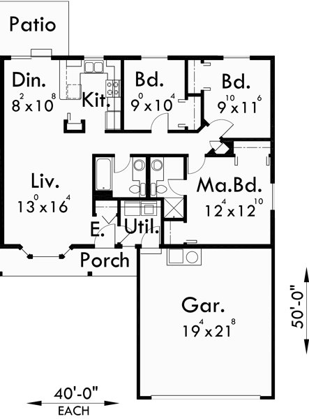 Best One Story Duplex House Plans 3 Bedroom Duplex Plans With Pictures