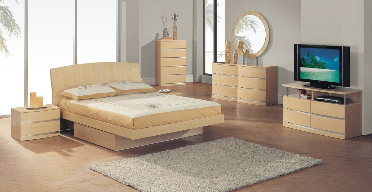 Best Global Furniture Usa Aria Platform Bedroom Set Maple With Pictures