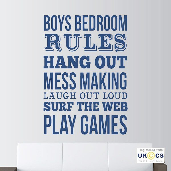 Best Boys Bedroom Rules Games Mess Laugh Wall Art Stickers With Pictures