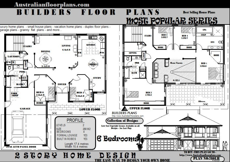 Best 6 Bedroom 2 Storey House Floor Plans Blueprints Sale Ebay With Pictures