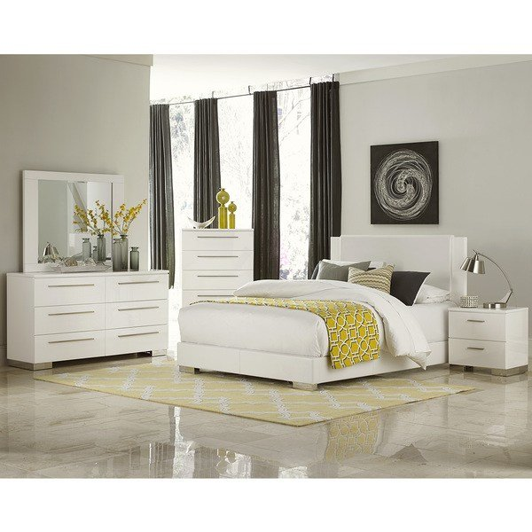 Best Leena White Faux Leather Chrome High Gloss 5 Piece Bedroom Set With Pictures