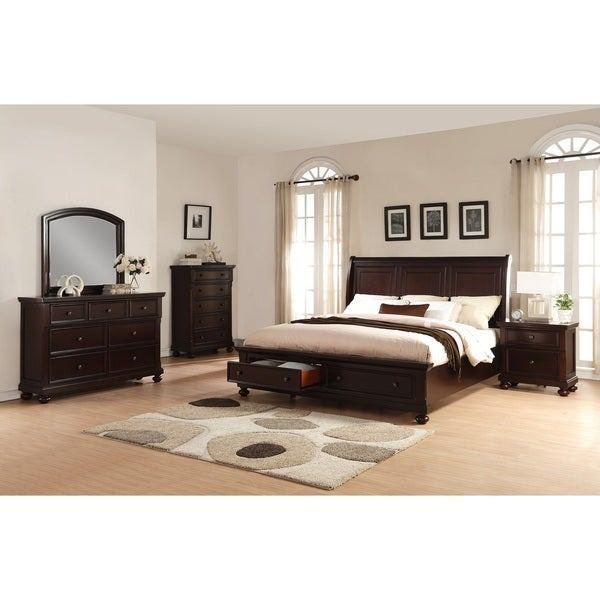 Best Brishland Rustic Cherry 5 Piece King Size Storage Bedroom With Pictures