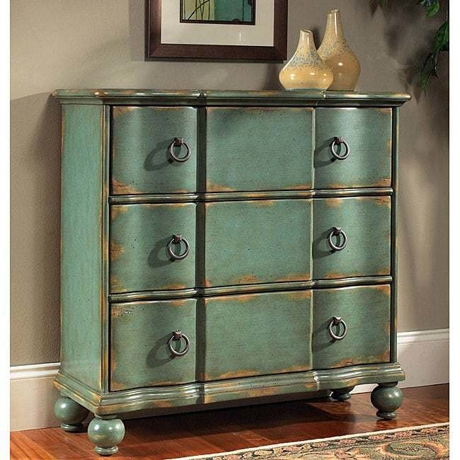 Best Hand Painted Distressed Blue Green Accent Chest 11968407 With Pictures