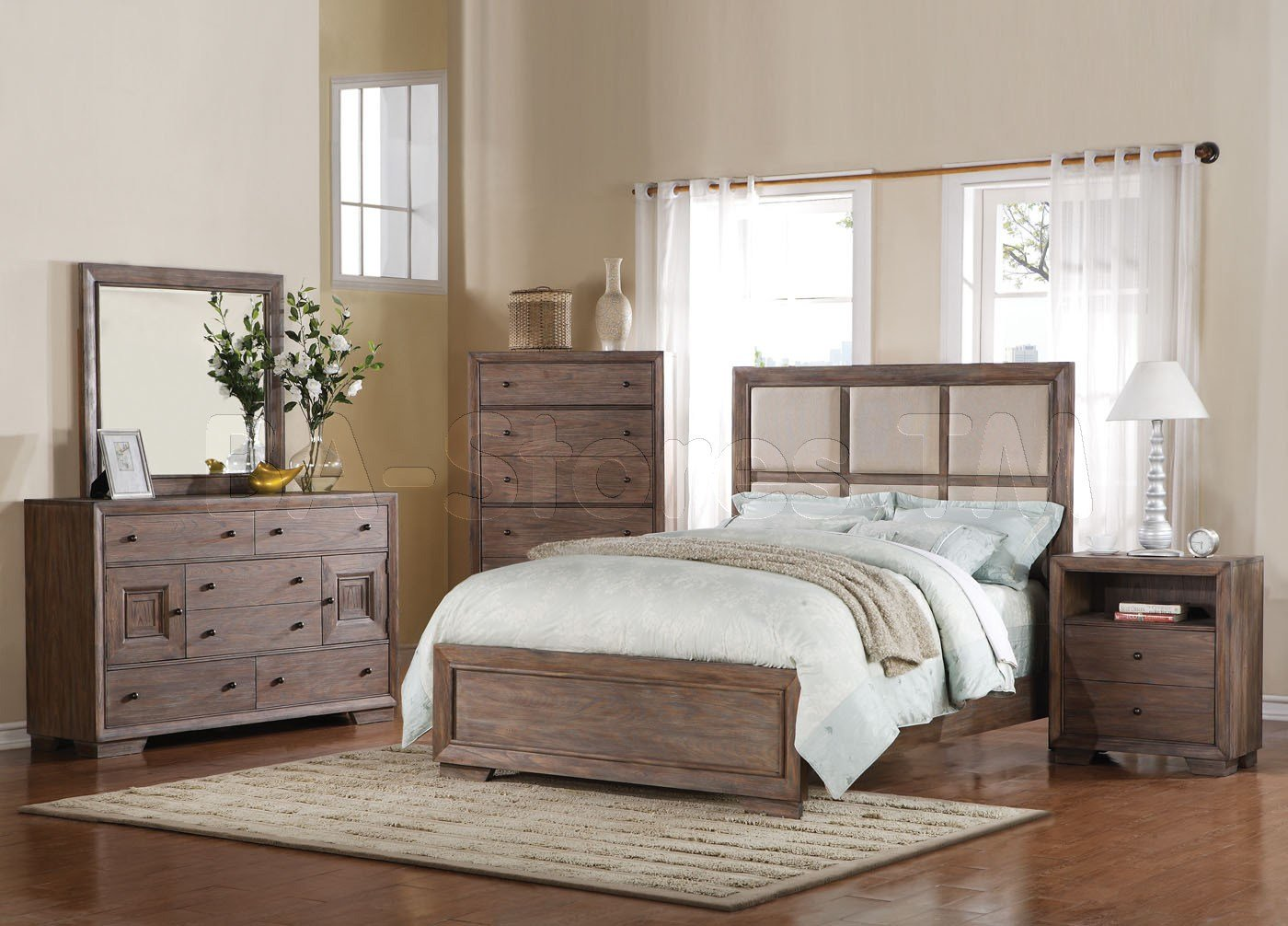 Best Equinox 5 Pc Bedroom Set In Distressed Ash Acme Furniture With Pictures