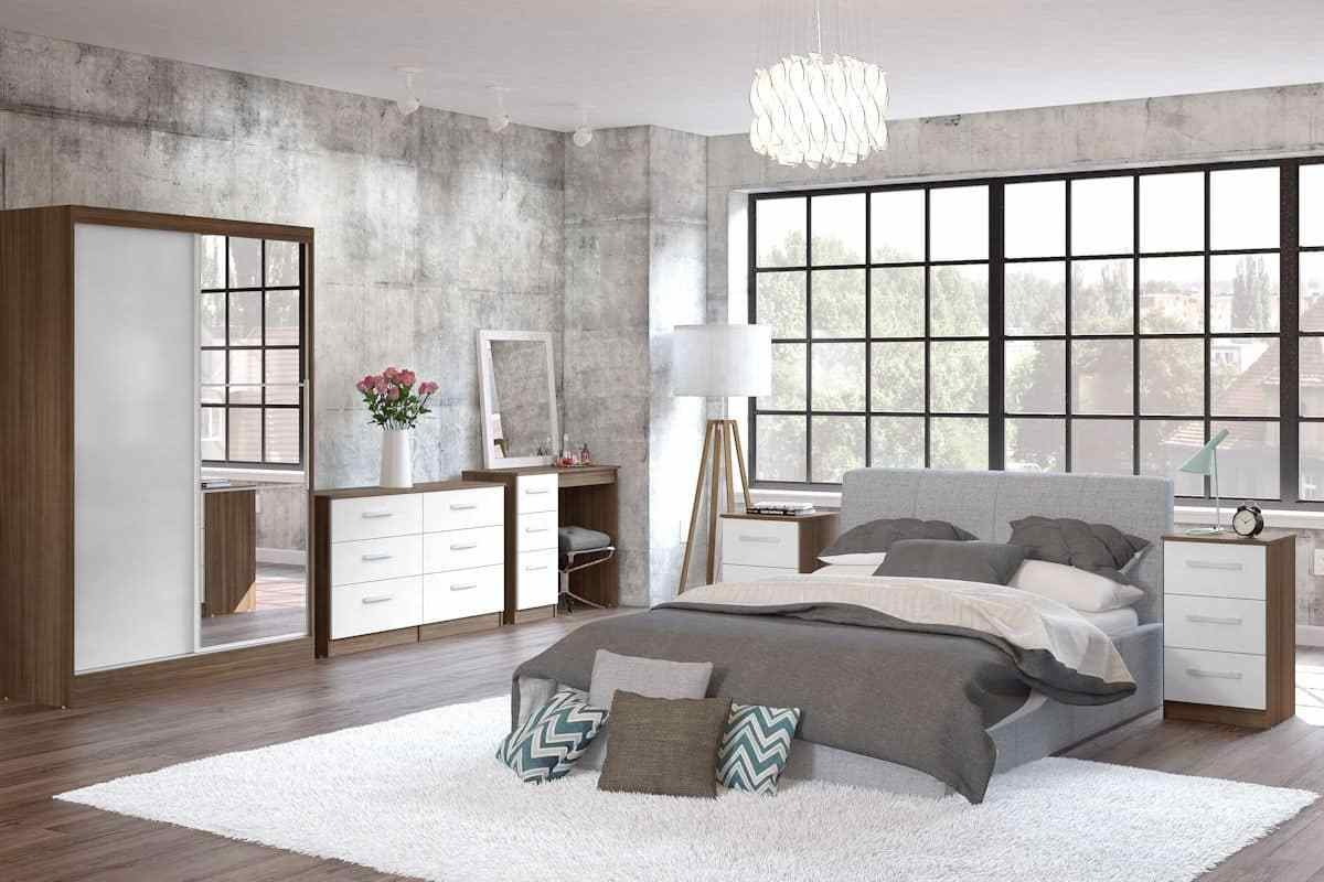 Best Birlea Lynx White And Walnut Bedroom Furniture With Pictures