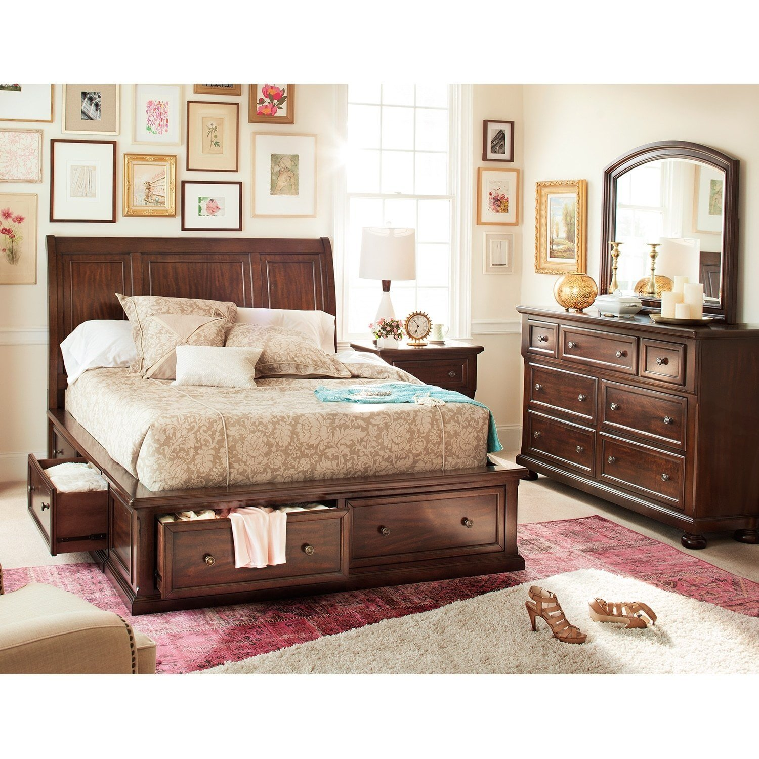 Best Hanover 5 Piece Queen Storage Bedroom Cherry Value With Pictures