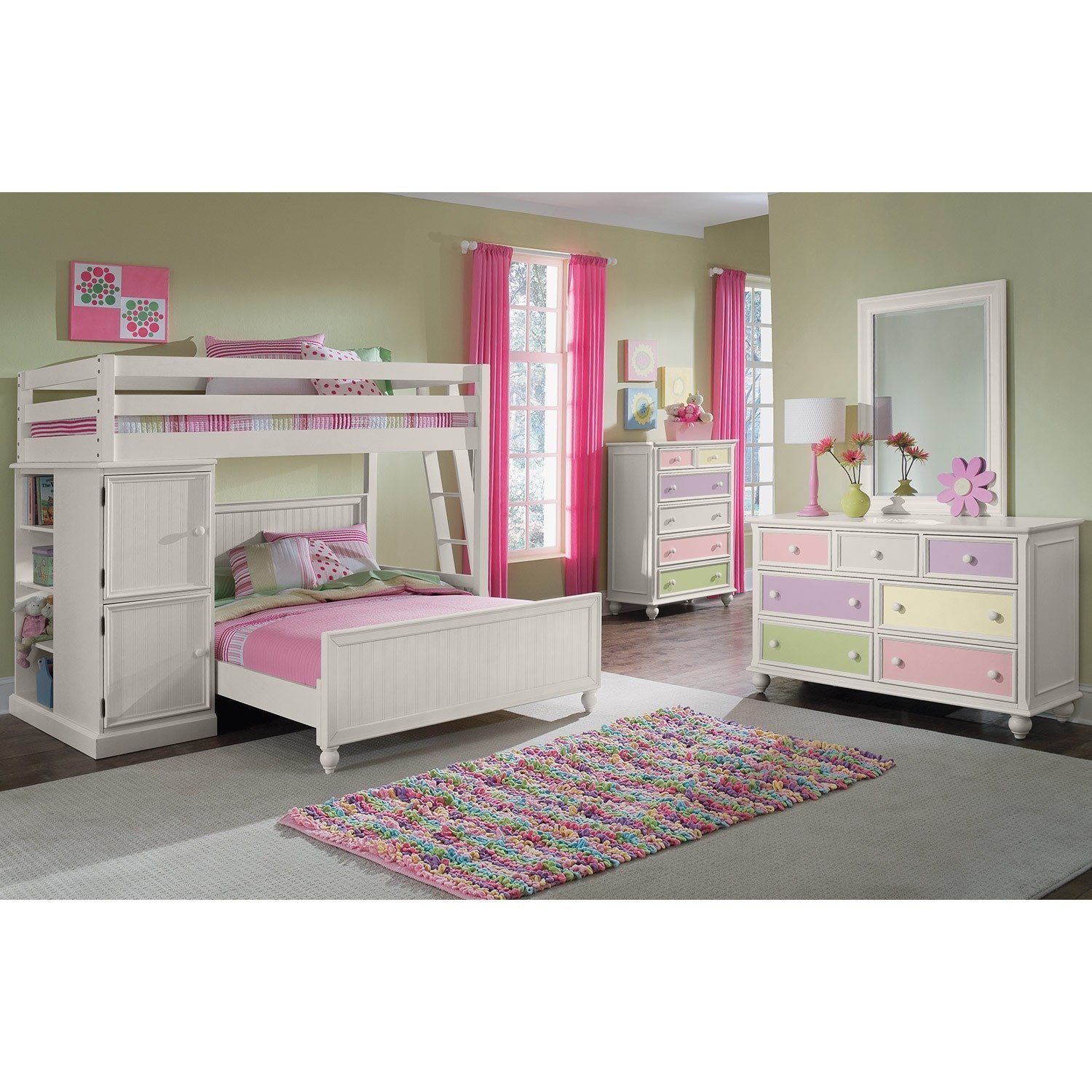 Best Colorworks Loft Bed With Full Bed White Value City With Pictures
