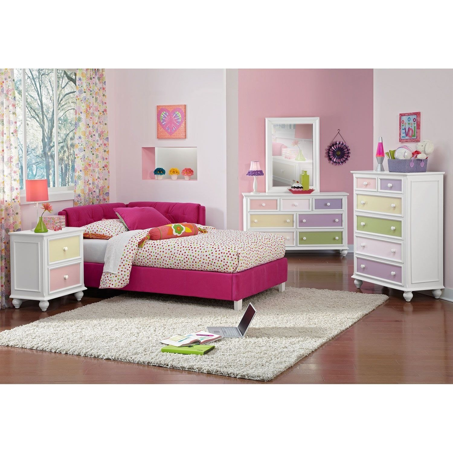 Best Jordan Twin Corner Bed Pink Value City Furniture With Pictures