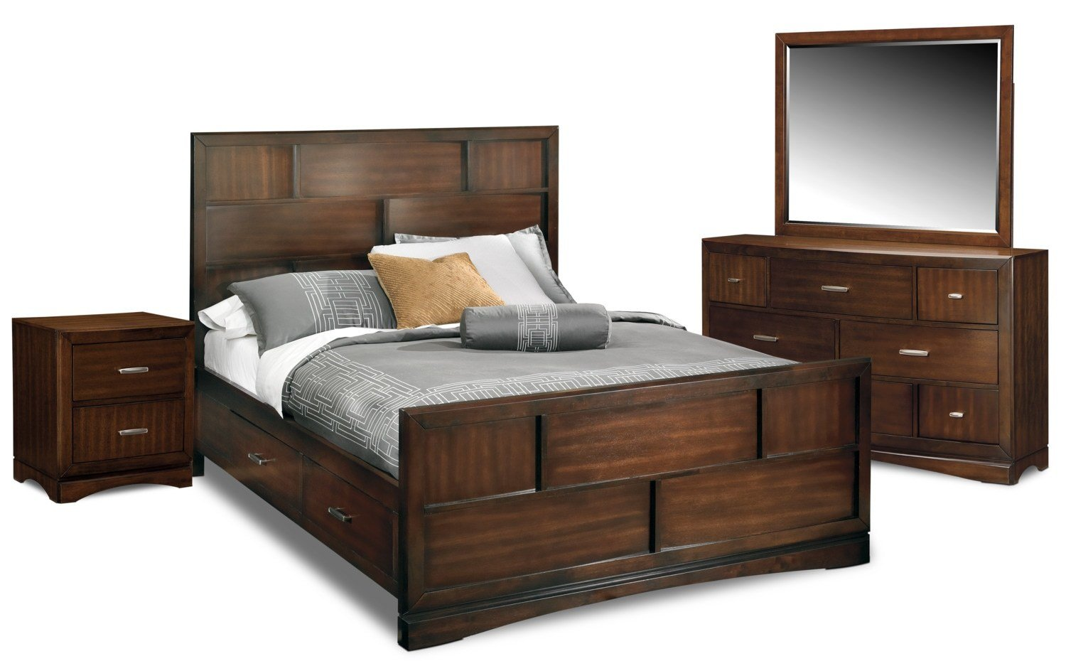 Best Toronto 6 Piece Queen Storage Bedroom Set Pecan Value With Pictures