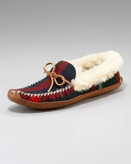 Best Ralph Lauren Yarmond Slipper Navy Plaid In Multicolor For With Pictures