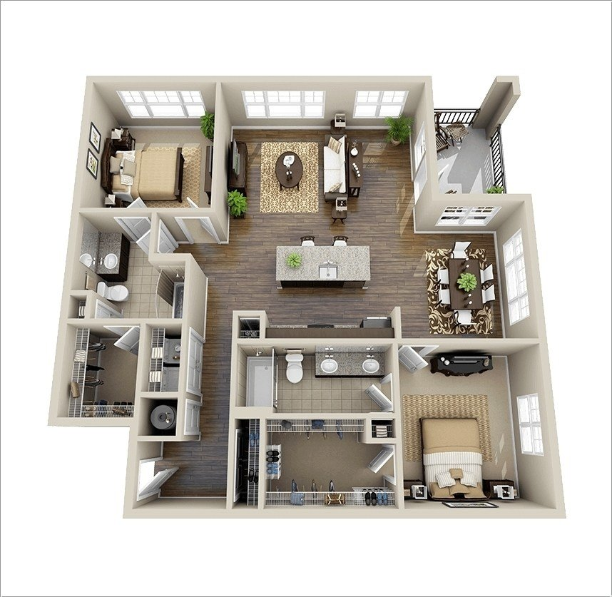 Best 10 Awesome Two Bedroom Apartment 3D Floor Plans Architecture Design With Pictures