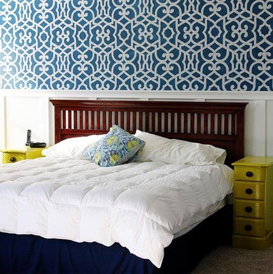 Best Stenciled Accent Wall In Bedroom By Sugar Bee Crafts Royal Design Studio Stencils With Pictures