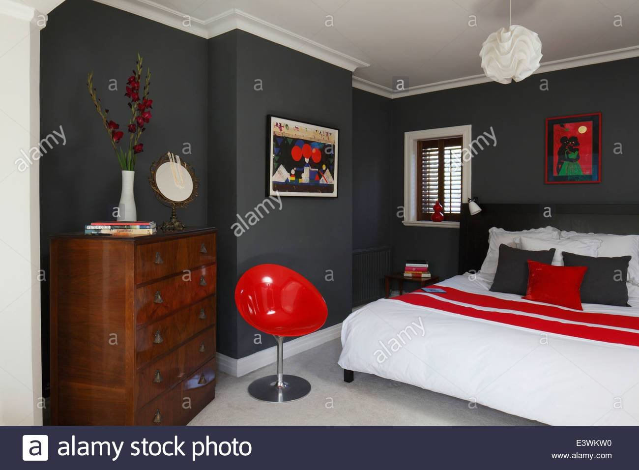 Best Red White And Grey Colour Scheme In Modern Bedroom With Pictures