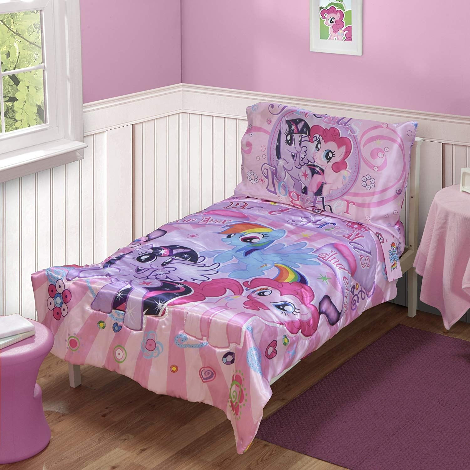 Best New My Little Pony Bedding Set Toddler 4Pc Pink Fitted With Pictures
