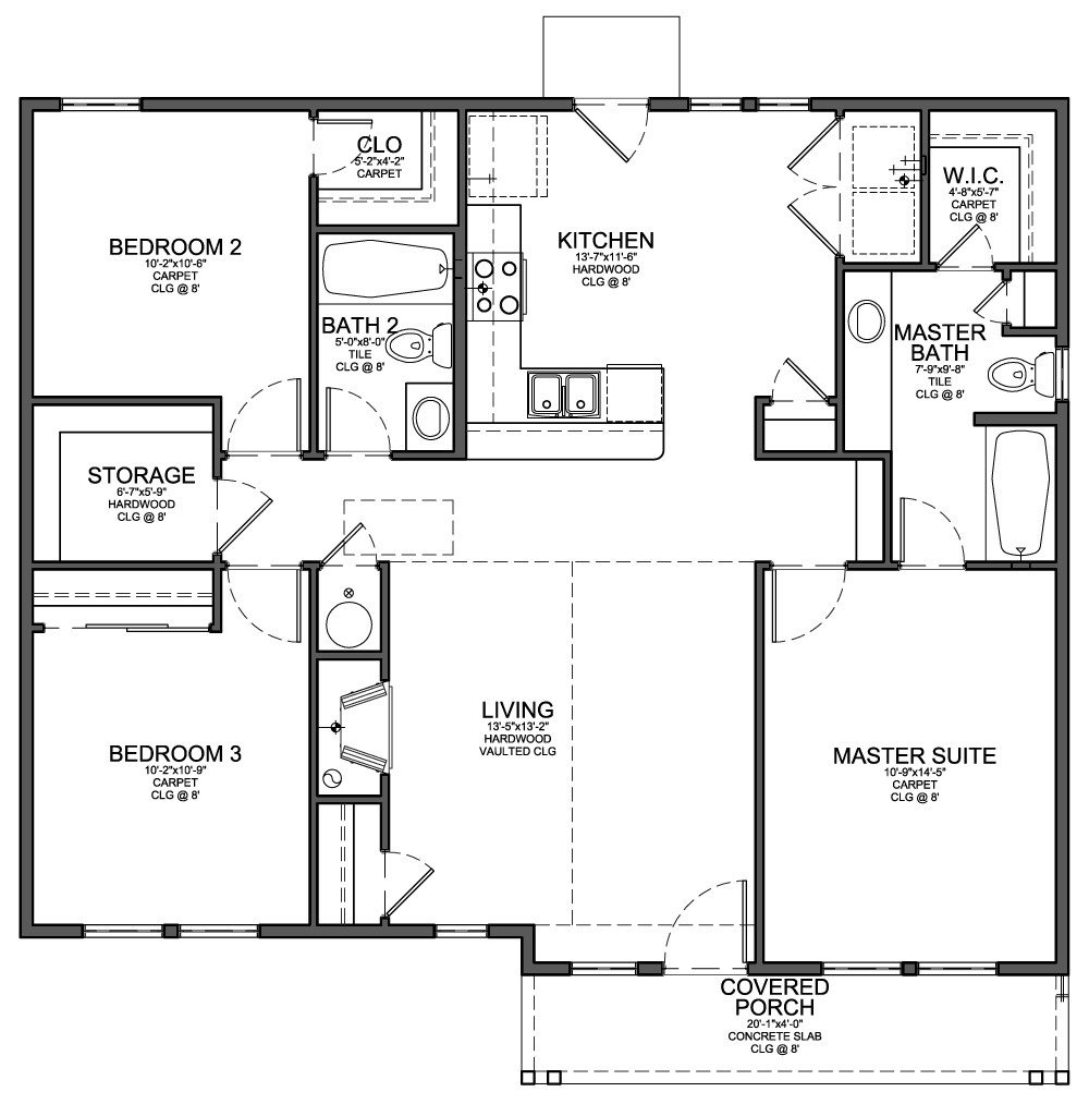 Best Floor Plan For Small 1 200 Sf House With 3 Bedrooms And 2 With Pictures
