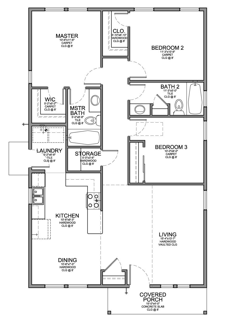 Best Floor Plan For A Small House 1 150 Sf With 3 Bedrooms And With Pictures