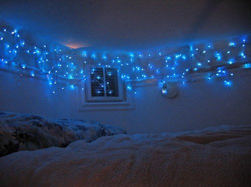Best Bed Bedroom Blue Lights Christmas Icicle Icycle With Pictures