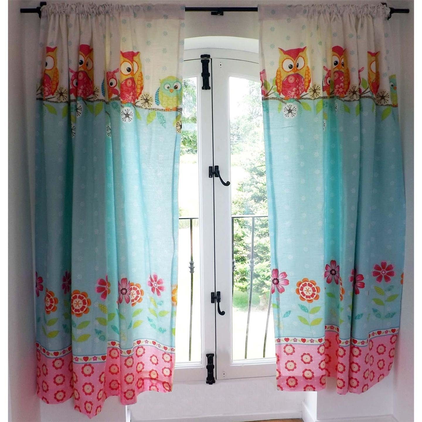 Best Owls 66 X 72 Lined Curtains With Tie Backs New Girls With Pictures
