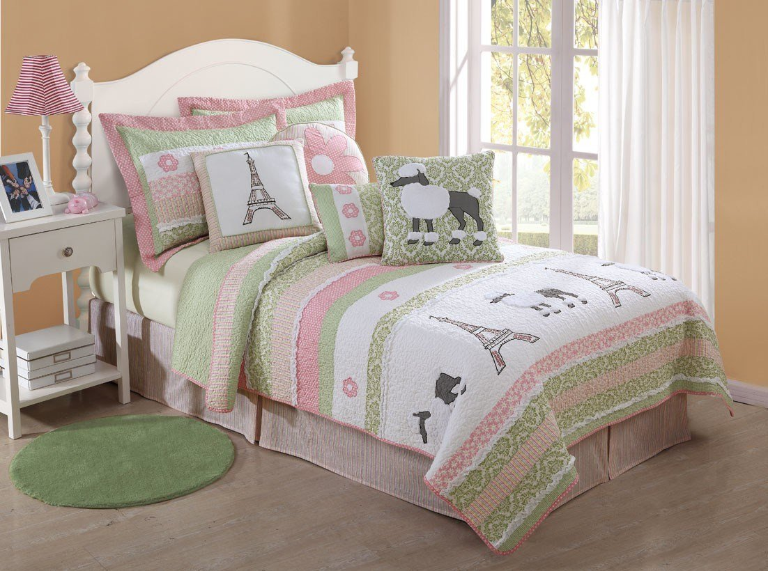 Best Girls Quilt Poodle Paris Eiffeltower Pink Green Bedding Ebay With Pictures