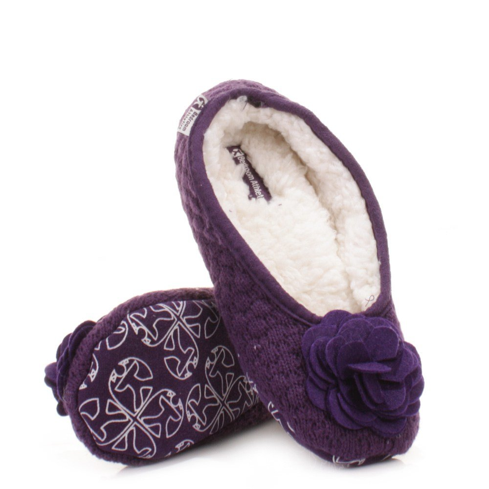 Best Womens Bedroom Athletics Charlize Grape Fleece Knitted Slipper Pumps Size 3 4 8 Ebay With Pictures