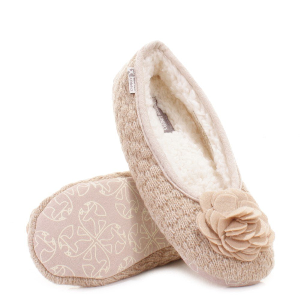 Best Womens Bedroom Athletics Charlize Natural Fleece Knit Slipper Shoes Size Ebay With Pictures