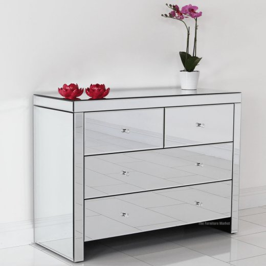 Best Venetian Mirrored Glass 2 Over 2 Drawer Chest Bedroom With Pictures