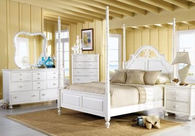 Best Cindy Crawford Home Seaside White 6 Pc King Poster Bedroom Bedroom Sets Colors With Pictures