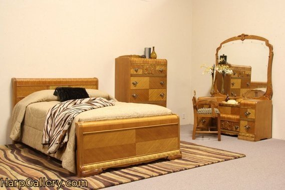 Best Art Deco 1940 Waterfall 4 Pc Bedroom Set Full Size Bed With Pictures