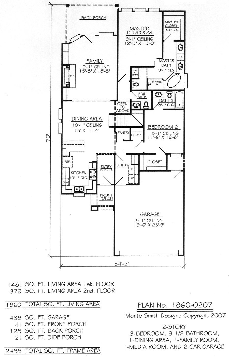Best 1860 0207 3 Bedroom 2 Story House Plan With Pictures
