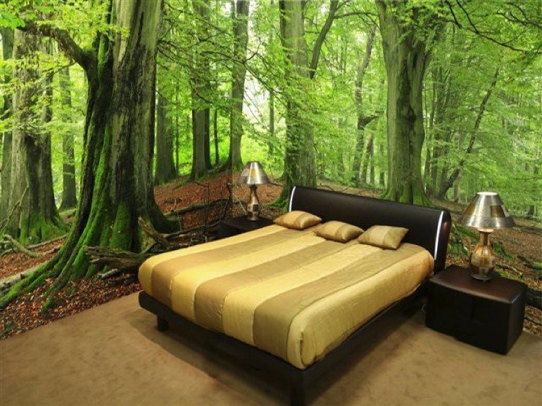 Best Whimsical Master Bedrooms With Forest Wallpaper – Master With Pictures