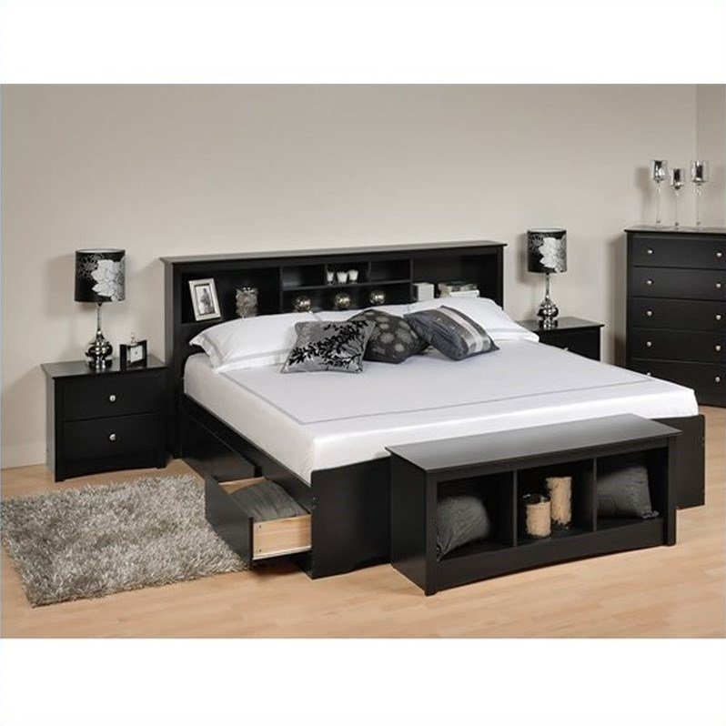 Best Prepac Sonoma Black King Bookcase Platform Bed 3 Pc With Pictures