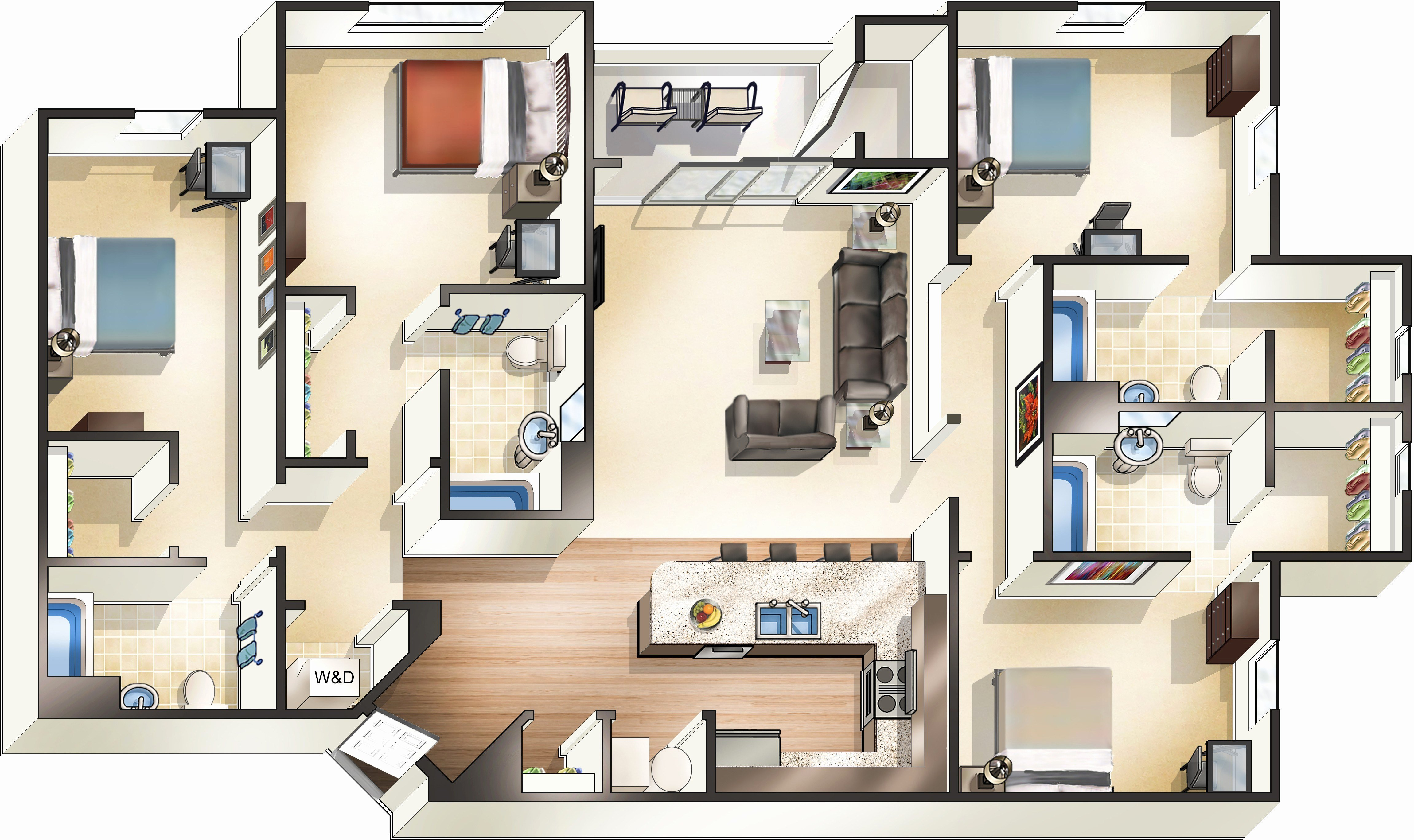 Best Four Bedroom Apartments Near Me House Info With Pictures
