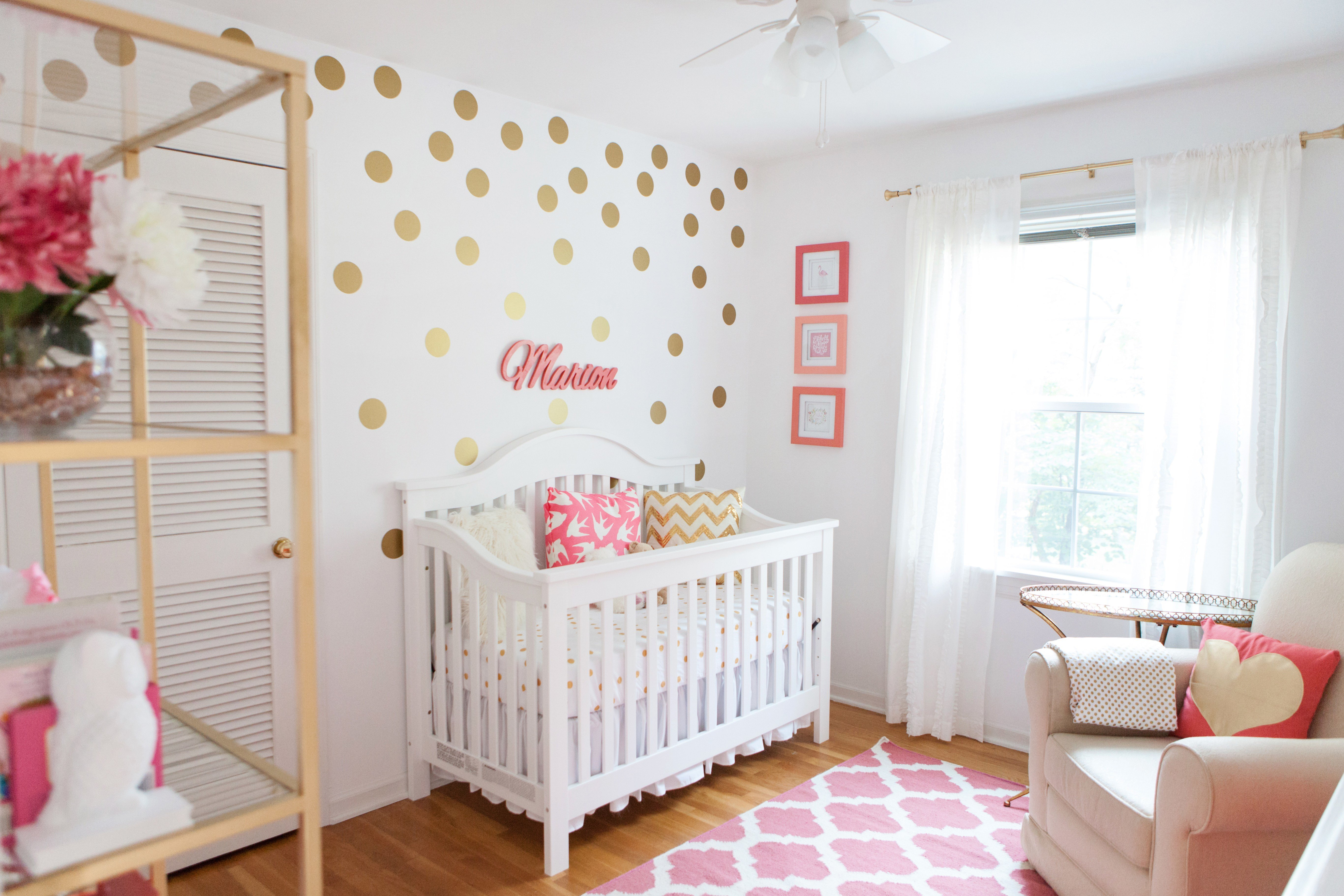 Best Marion S Coral And Gold Polka Dot Nursery Project Nursery With Pictures