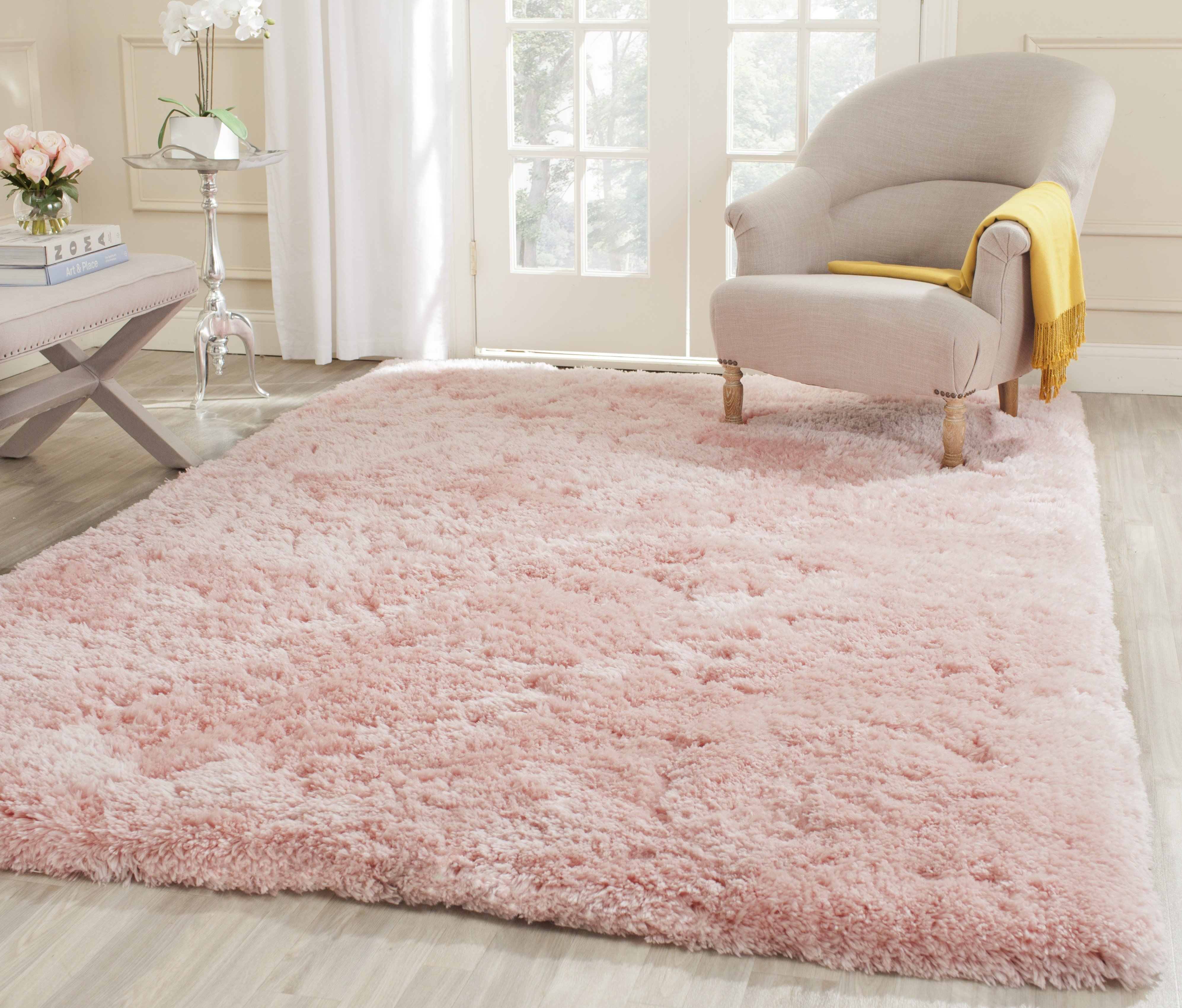 Best Safavieh Hand Tufted Pink Polyster Sh*G Area Rugs Sg270P With Pictures
