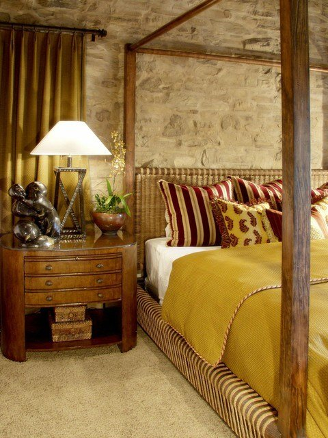 Best Tuscan Bedroom With Stone Accent Wall Mediterranean With Pictures
