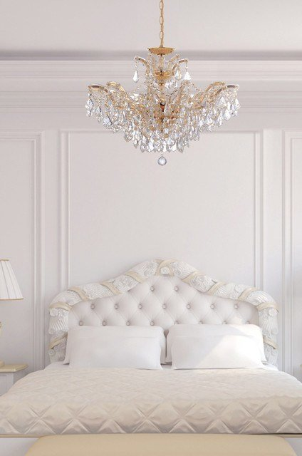 Best Maria Theresa Gold Crystal Chandelier In White Bedroom With Pictures