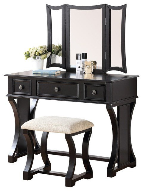 Best Curved Design 3 Panel Mirror Vanity With Stool Drawer Black Contemporary Bedroom Makeup With Pictures